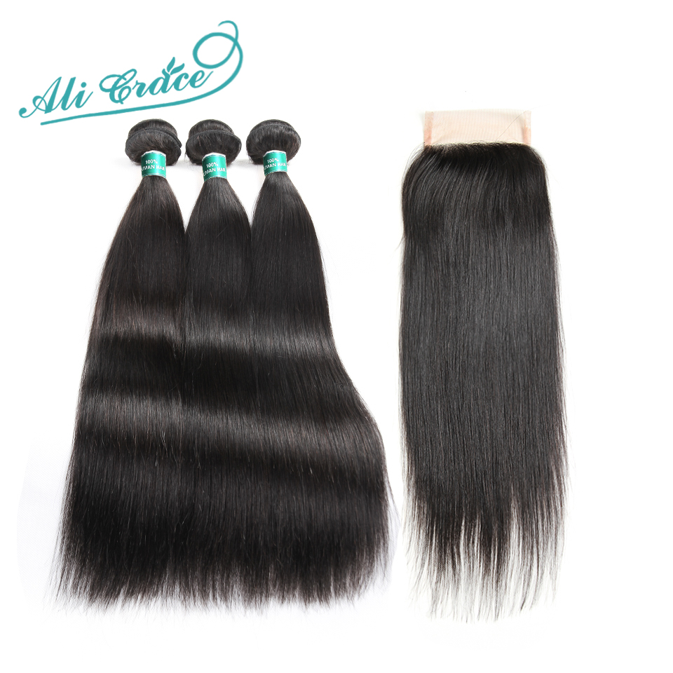 Ali Grace Hair 3 Bundles Indian Straight Hair With lace Closure 100 Remy Human Hair Bundles
