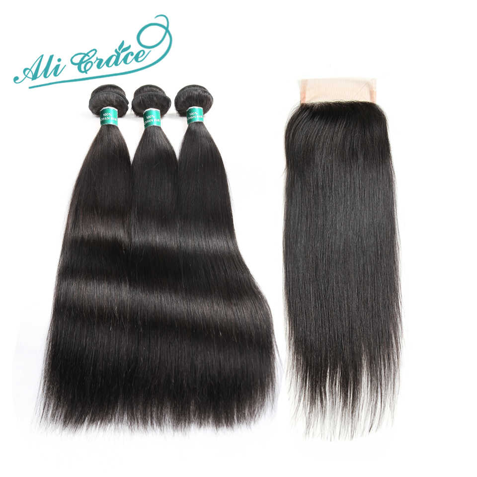 Ali Grace Hair 3 Bundles Indian Straight Hair With lace Closure 100% Remy Human Hair Bundles With 4*4 Hand Tied Closure