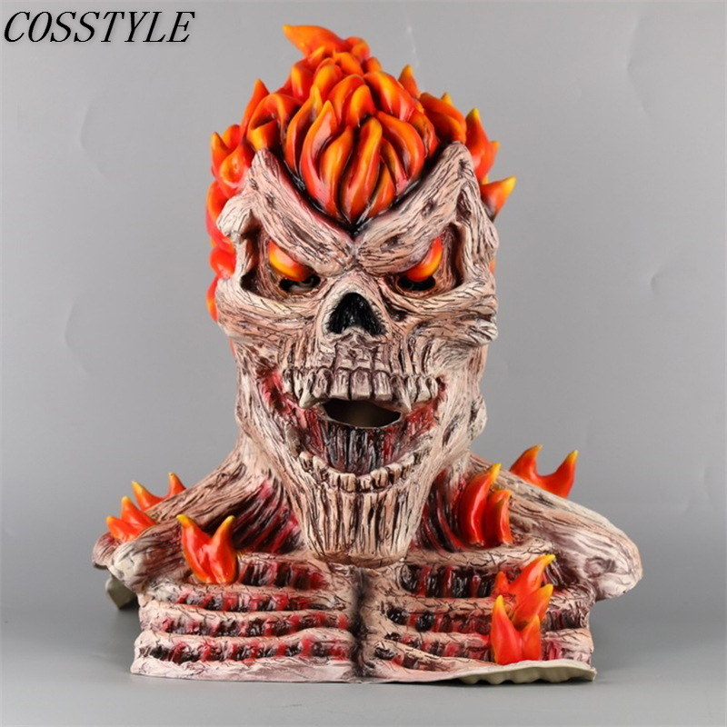 2019 Punisher Mask Ghost Rider Full Head Latex Mask Adult Fire Skull Hood Scary Halloween Mask Cosplay Props
