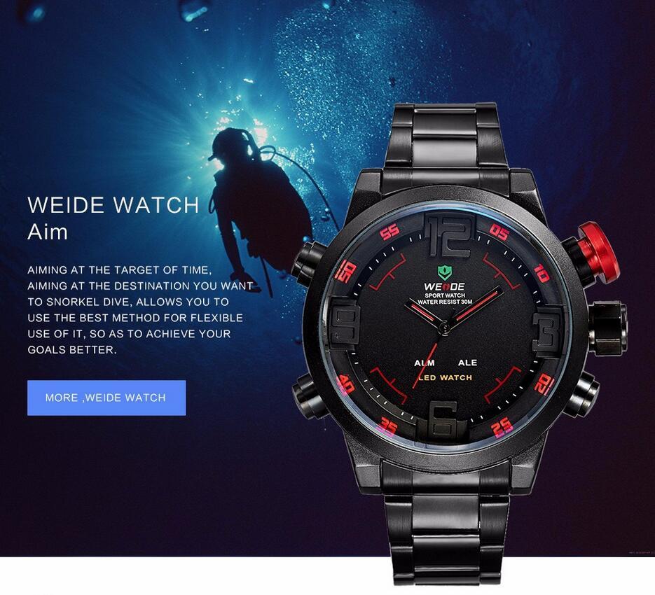 Weide 2309 Men Military Sport Watch Stainless Steel