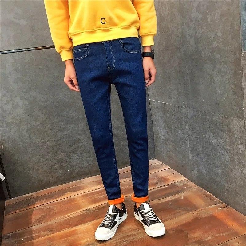 slim Korean winter fashion male warm pants skinny jeans  Men with male cashmere elastic jeans pants top quality YF009