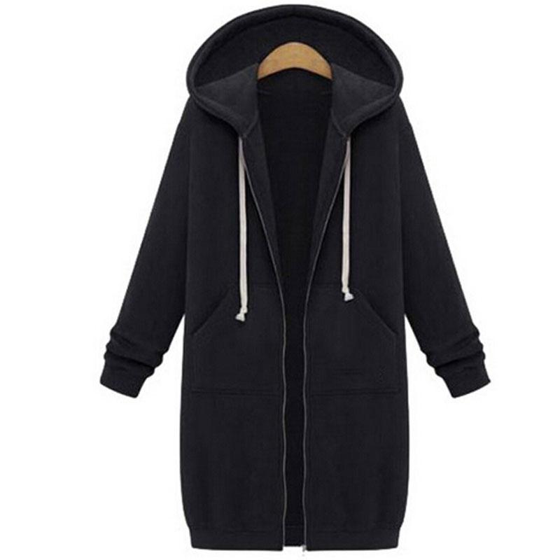 Winter Coats  Fashion Autumn Women Long Hoodies Sweatshirts Coat Casual Pockets Zipper Outerwear Hooded Jacket Plus Size