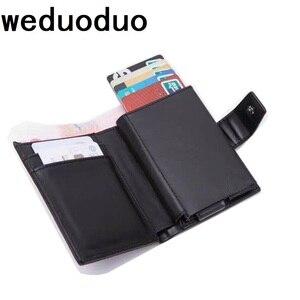 Новый металлический держатель для кредитных карт, автоматический всплывающий винтажный Алюминиевый бумажник из искусственной кожи, проти...