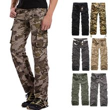 NIBESSER Men's Military Camouflage Pants Loose Multi-Pocket Cargo Pants Men Straight Overalls Workout Trousers Casual Cotton(China)
