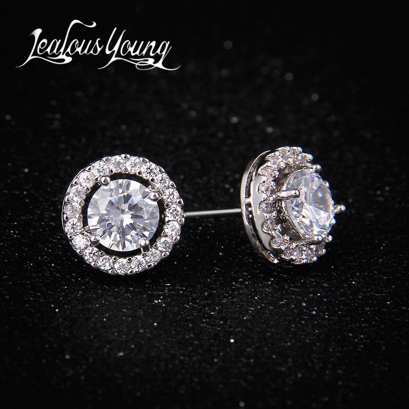 Klasični okrugli AAA + kubni cirkonij naušnice za žene Party poklon kristalno naušnice modni nakit za muškarce oorbellen AE177
