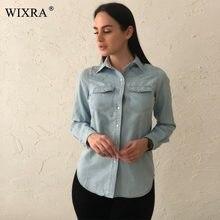 64771a23679 Wixra Мода хлопок джинсовые Для женщин Блузки для малышек рубашка с  длинными рукавами Для женщин Топы