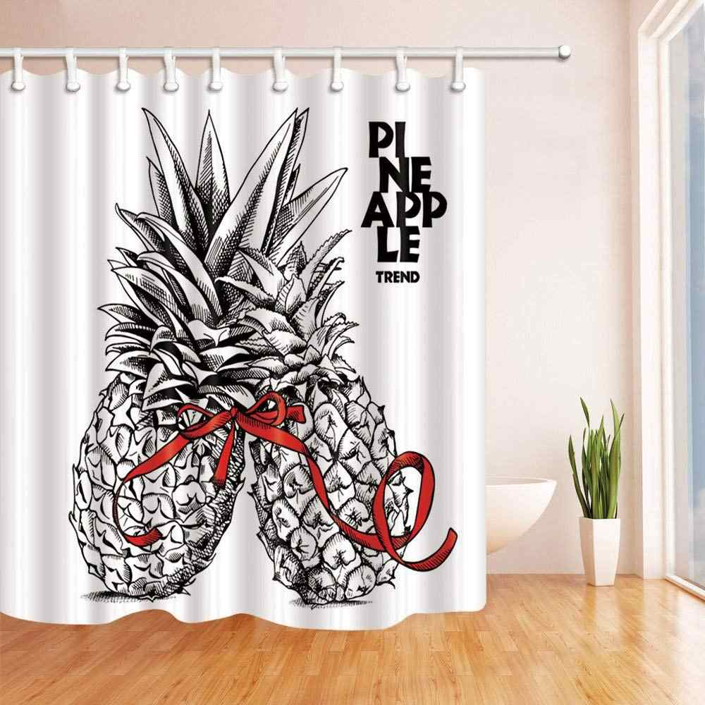 Ananas z wstążka zasłona wanny tkanina poliestrowa wodoodporny prysznic zasłona prysznicowa zasłony haki w zestawie czerwony