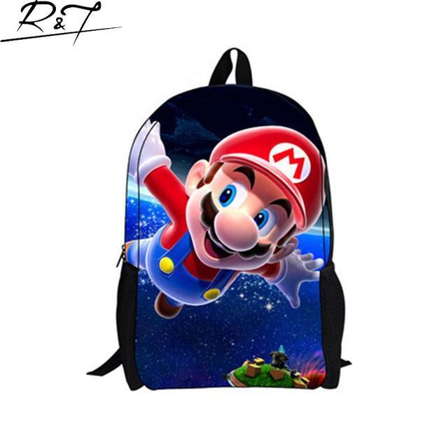 Новое прибытие 2016 Полиэстер Высокого Качества Super Mario детские Школьные Сумки