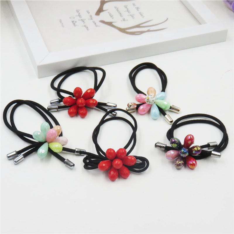 1pcs Lovely Flower Gray Ball Elastic Hair Bands Toys For Girls Handmade Bow Headband Scrunchy Kids Hair Accessories For Womens Beautiful And Charming Apparel Accessories