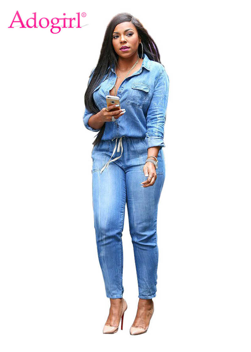 Adogirl Plus Size Do Vintage Calça Jeans Macacão Turn Down Collar Manga Comprida Bandage Denim Rompers Mulheres Macacões Combinaison S-3XL