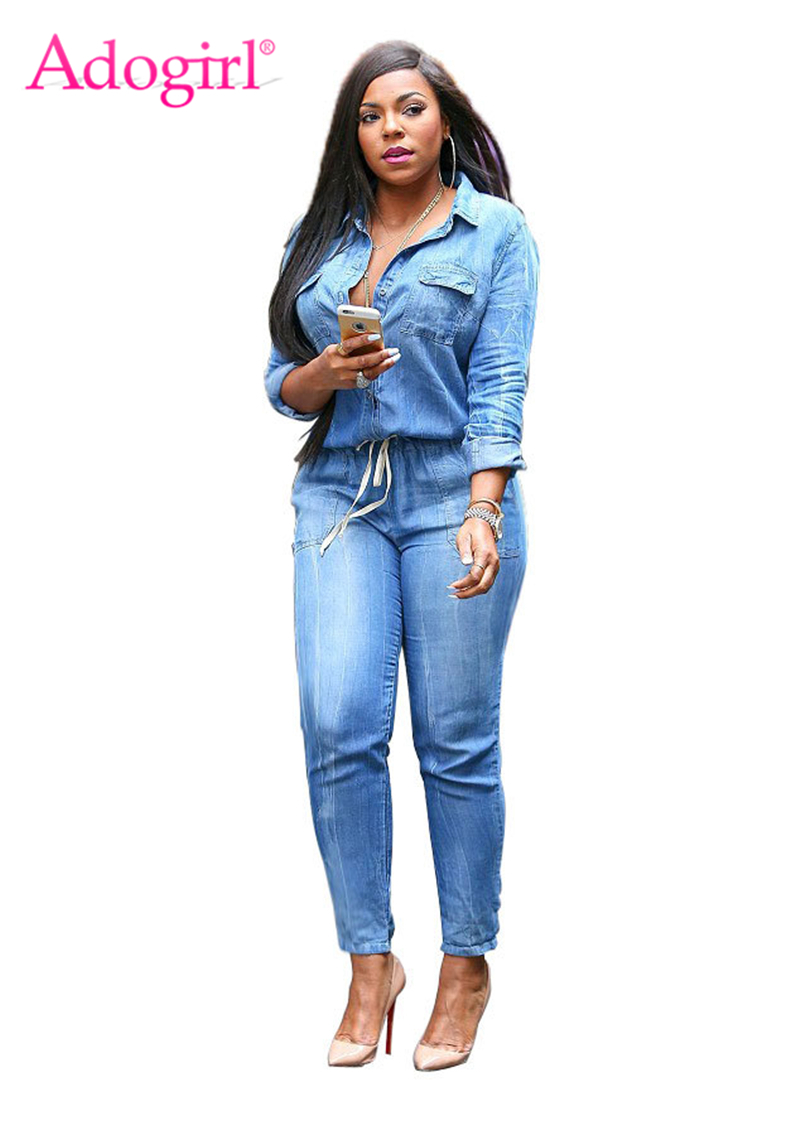 Adogirl Vintage Plus Size Jeans Jumpsuit Turn Down Collar Long Sleeve Bandage Denim Rompers Women Bodysuits Combinaison S-3XL