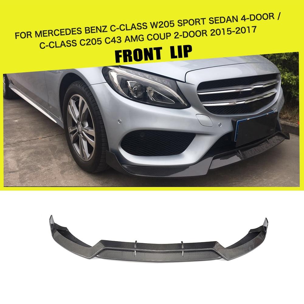 Carbon fiber Car Front Lip Spoiler Bmper Potector for Mercedes Benz C Class W205 Sport C205 C43 AMG C180 C200 15-17 B Sytle