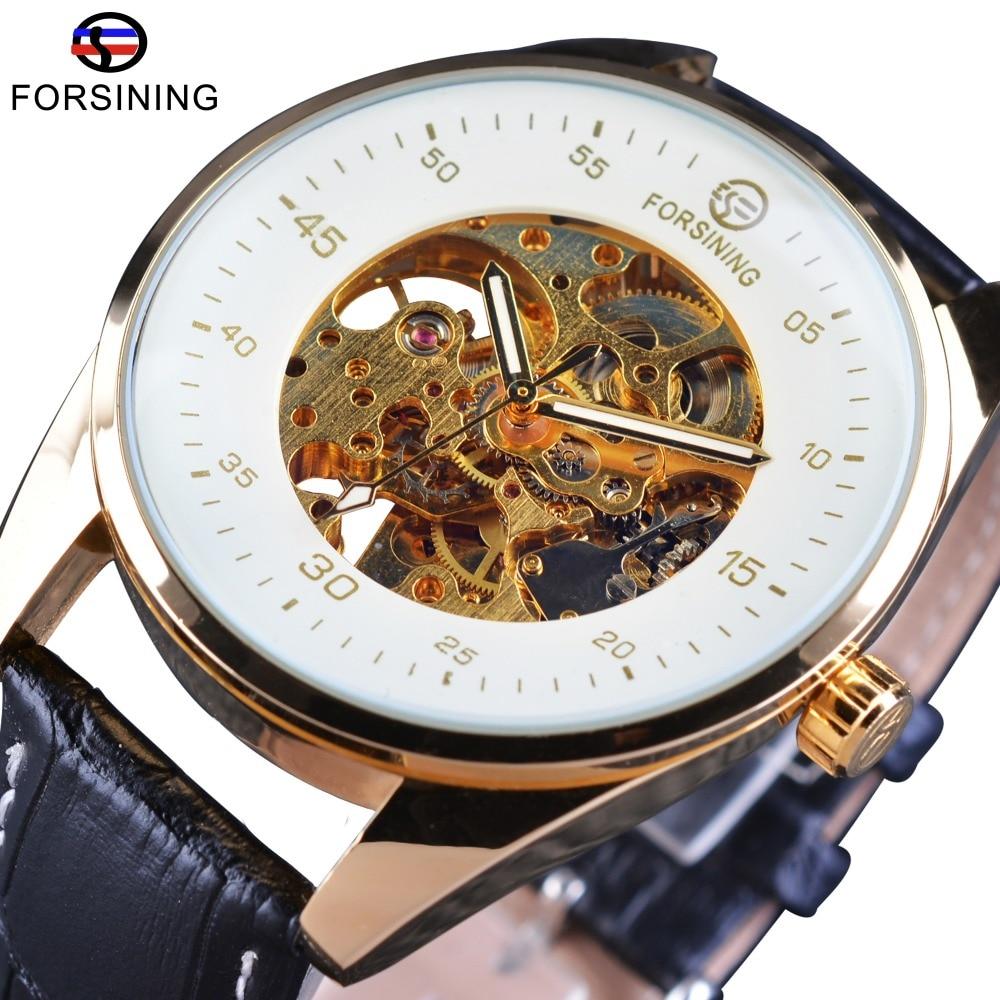 Forsining 2017 transparentní pouzdro originální kožené řemínek - Pánské hodinky