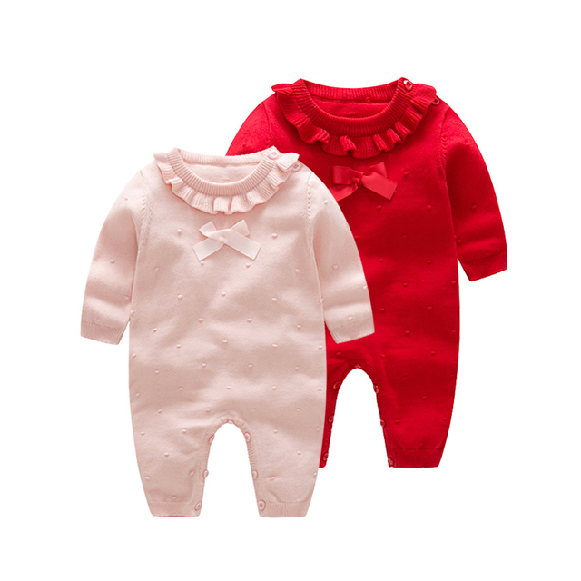 0e1a262ab3c Baby Girl Romper Jumpsuit Fashion Winter Newborn Clothes Solid Toddler Baby  Knitted Romper 0-24M Long Sleeve Infant Jumpsuit