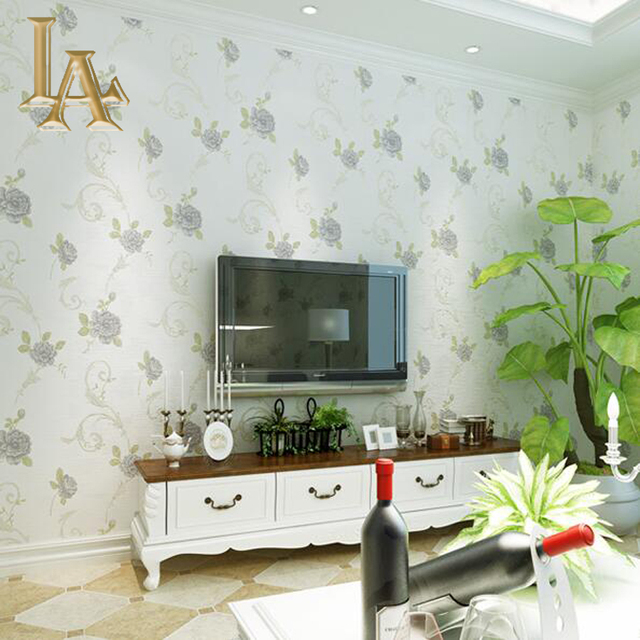 Europäischen Luxus Grün Lila Rosa Rosen Wallpaper Für Wände 3 D ...