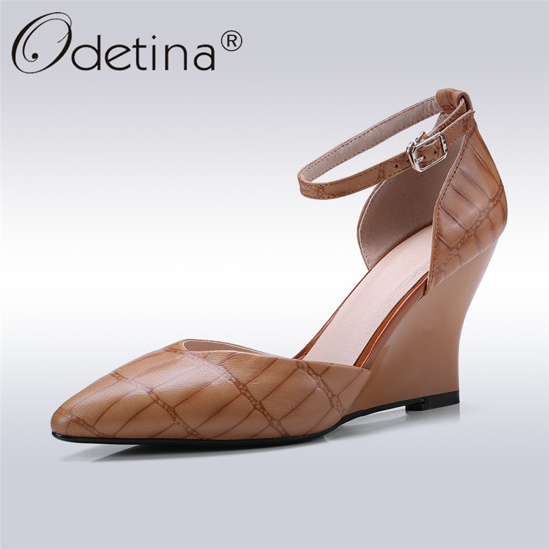 Odetina 2018 New Fashion Genuine Leather Pointed Toe Pumps Ankle Strap Wedges Shoes Dress Buckle Footwear For Women Big Size 43 odetina 2017 new summer ankle strap ballet flats buckle women mary jane shoes round toe casual flat shoes sweet big size 34 43