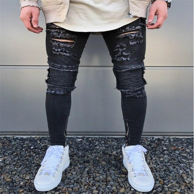 239664e14c6c38 2018 neue Blau/schwarz Zerrissenen Jeans Männer Löcher Super Dünne Berühmte  Designer Marke Slim Fit