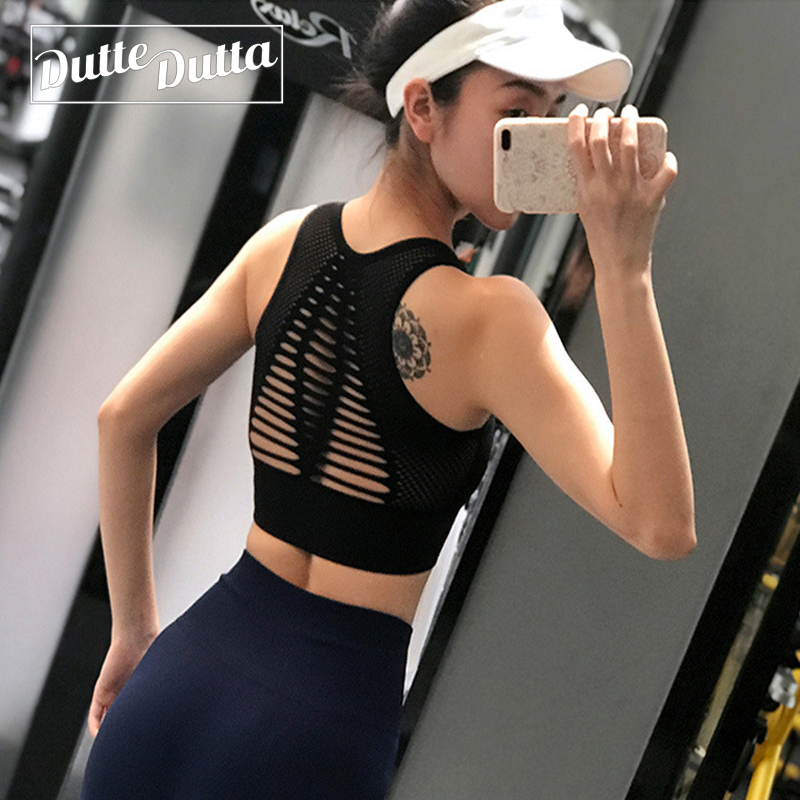 Sexy Hollow Out High Impact Sports Bra Mesh Back Workout Yoga Bra