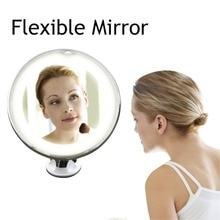 Espejo Flexible iluminado 10 x lupa iluminado espejo de maquillaje poder con ventosa de seguridad Vanity pincel maquiagem Jesús sup LD