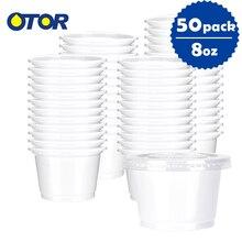OTOR 50 шт 10 унций белый одноразовый пластиковый контейнер для хранения еды для салата десерта и фаст-фуда
