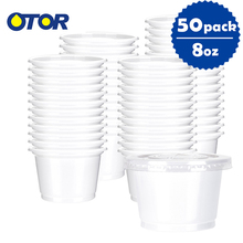 OTOR Free Shipping 50pcs 10oz White Disposable Plastic Cup  Food Storage Container for Salad Dessert and Fast food Microwaveable