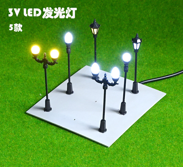 scale model train railway layout street leds lampposts lights lamps