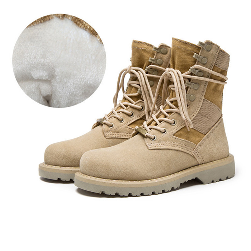 Men Womens Leather Fleece Thermal Army Boots Martin Boot Outdoor Hiking Training Climbing Shooting Desert Tactics Military Shoes