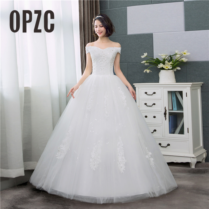 Real Photo Korean Lace Boat Neck Off the Shoulder Up Ball Gown Wedding Dresses 2020 New Arrive Plus Size Bridal Dress Princess
