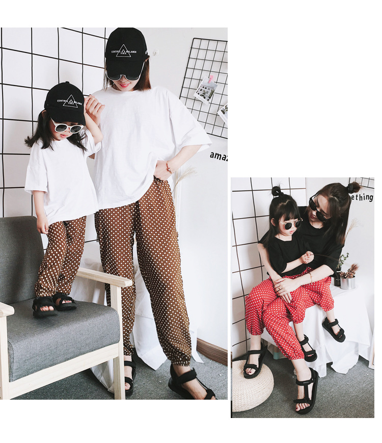 Mother Daughter Clothes 2018 New Summer Baby Girl Lantern Pants Family Look Kids Dot Printed Casual Trousers Pant Mosquito Pants 21