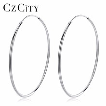 CZCITY Popular 10-50mm Huggie Hoop Earrings for Women 925 Sterling Silver Classic Minimalistic Circle Earring Fine Jewelry стоимость