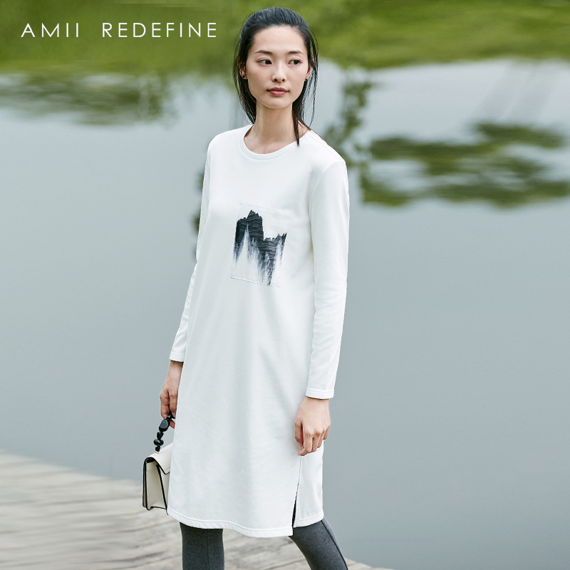 Amii Redefine Dress Women 2018 Casual O-neck Print Full Sleeve Knee-length Spring Dresses