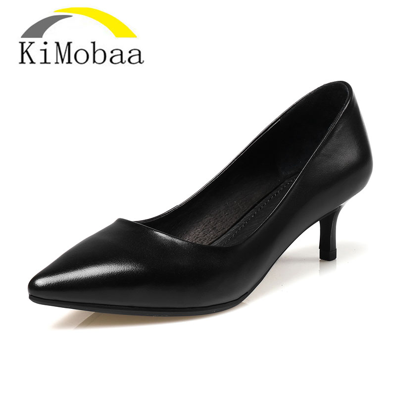 Kimobaa OL Office Lady Pumps Pure Color Women's heel shoes  Women Shoes Cow Leather High Quality All Match Pumps Size 34-40 TX17