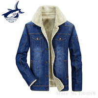 Fur Collar Winter Parka Men Tace Shark Brand Casual Thick Fleece Denim Jacket Coat Men Jaquetas