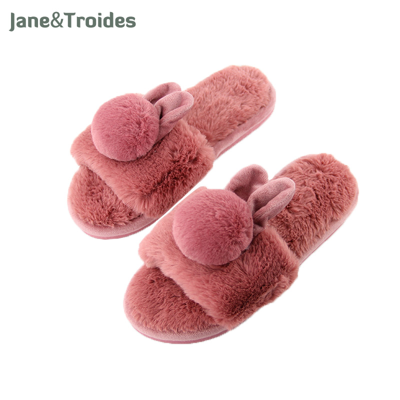 Winter Home Fluffy Slippers For Women Open Toe Rabbit Pompon Plush Anti Slip Floor Flip Flops Fashion Woman Indoor Shoes wholesale 5 woman foam open toe backless flip flops shoes slippers 1 pair