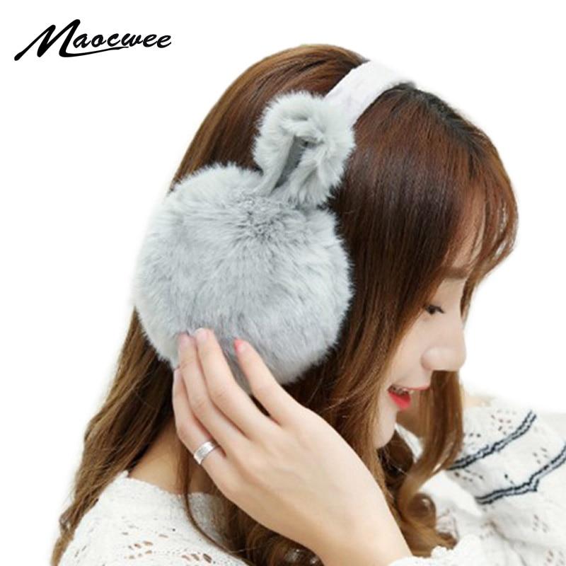 Lovely Faux Rabbit Fur Winter Earmuffs Fur Ear Muffs Cache Oreilles Comfort Warm Pink Winter Cat Ears Earmuffs For Women Girls