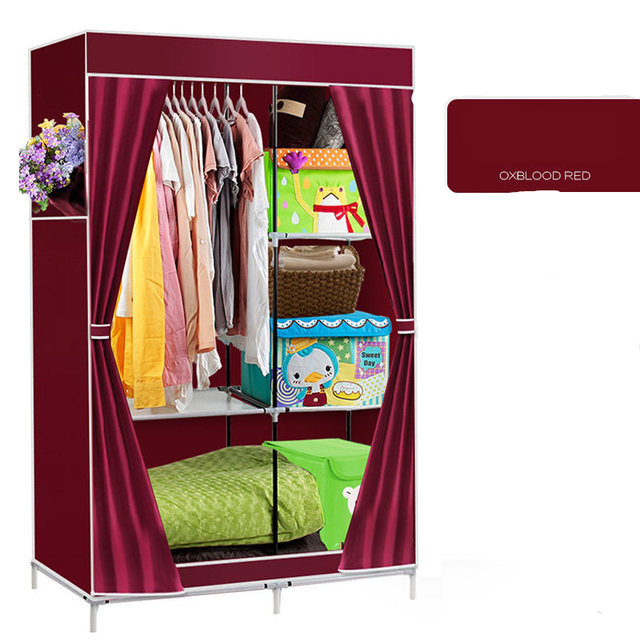 Non Woven Zipper Type Steel Frame Large Diy Wardrobe Closet Storage Hostel Easy Embly