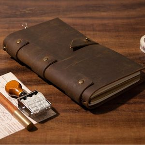 Image 4 - 2021 Leather Vintage Diary Notebook Journal Blank Cover String Hardcover Soft Copybook genuine leather note book daily planner