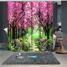 3D Peach Blossom Forest Sweet Lilies Shower Curtains Bathroom Curtain Waterproof Thickened Bath Curtain Customizable flowers blossom waterproof bath curtain