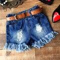 2017 girls summer jeans shorts Kids Clothing Children Clothes Pants Summer Girls Short Jeans Denim Shorts +Belt