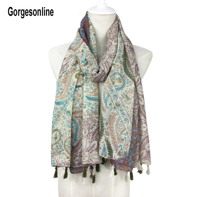 165 Color Designs Fashionable Tassel Printed Scarf Long Cotton Shawls Women Hijab With Fringe