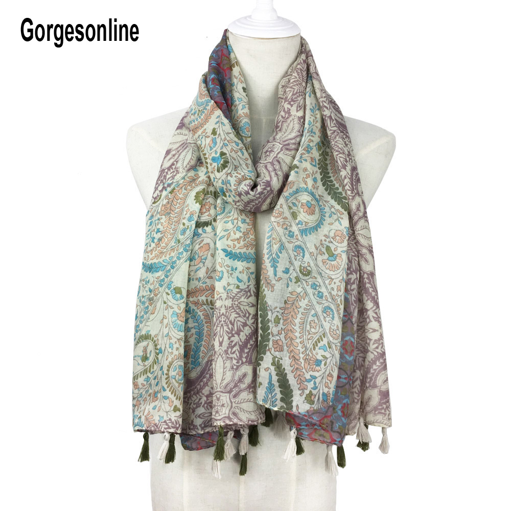 165 Color Designs Fashionable Tassel Printed   Scarf   Long Cotton Shawls Women Hijab   Scarf   With Fringe