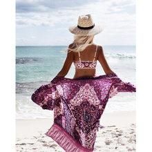 Hot Sale Summer tassel print chiffon blouse long kimono cardigan beach cover ups 2017 casual sexy beachwear shirt women clothing