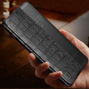 Image 4 - جلد طبيعي حالة لهواوي P20 برو حالة بتنبيهه الهاتف غطاء ذكي كوكه لهواوي P20 حالة مع نافذة عرض