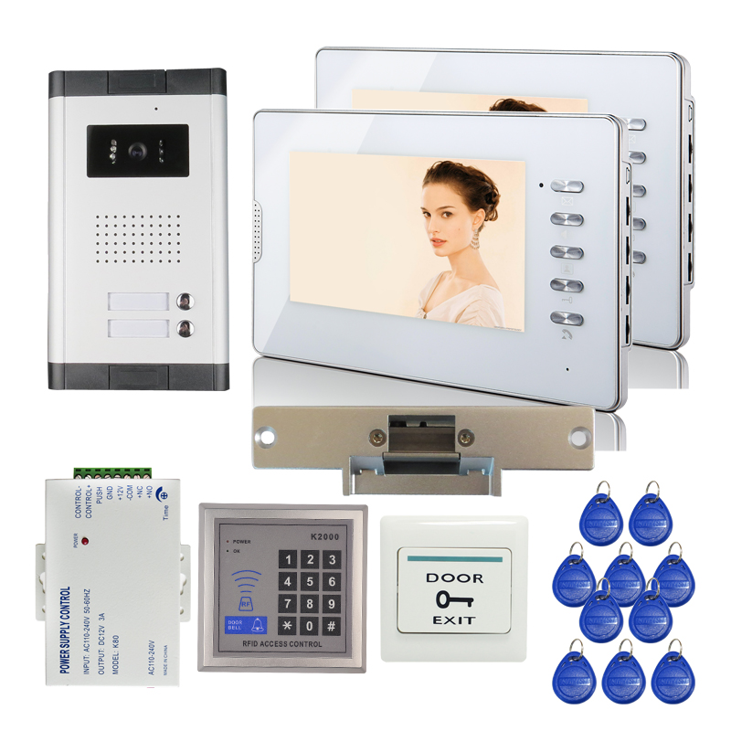 FREE SHIPPING 7 Color Screen Apartment Video Door phone Intercom 700TVL Outdoor Camera for 2 Family RFID Access + Strike Lock digital electric best rfid hotel electronic door lock for flat apartment