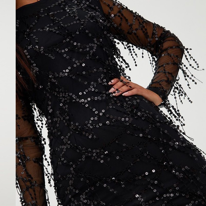 MUXU black sequin dress women patchwork fringe long sleeve sexy vestido  party bodycon ladies dresses club glitter clothes-in Dresses from Women s  Clothing ... 893e90ce8185
