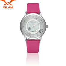 2017 VILAM  luxury brand quartz Women watch Fashion Leather watches snowflake Flower Female diamond Wristwatch Relogio Feminino
