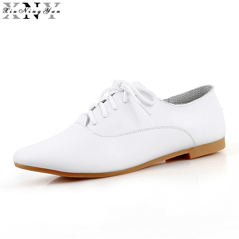XiuNingYan 2017 Autumn Women Oxford Shoes Ballerina Flats Shoes Women Genuine Leather White Shoes Moccasins Lace Up Loafers New spring women oxford shoes ballerina flats shoes women genuine leather shoes moccasins lace up loafers white shoes footwear