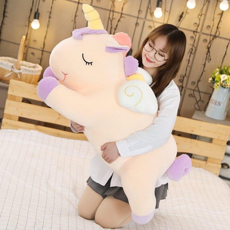 Große plüsch einhorn spielzeug weiche bunte pferd stofftier kissen huggable puppe Weihnachten geburtstag geschenk für mädchen kinder