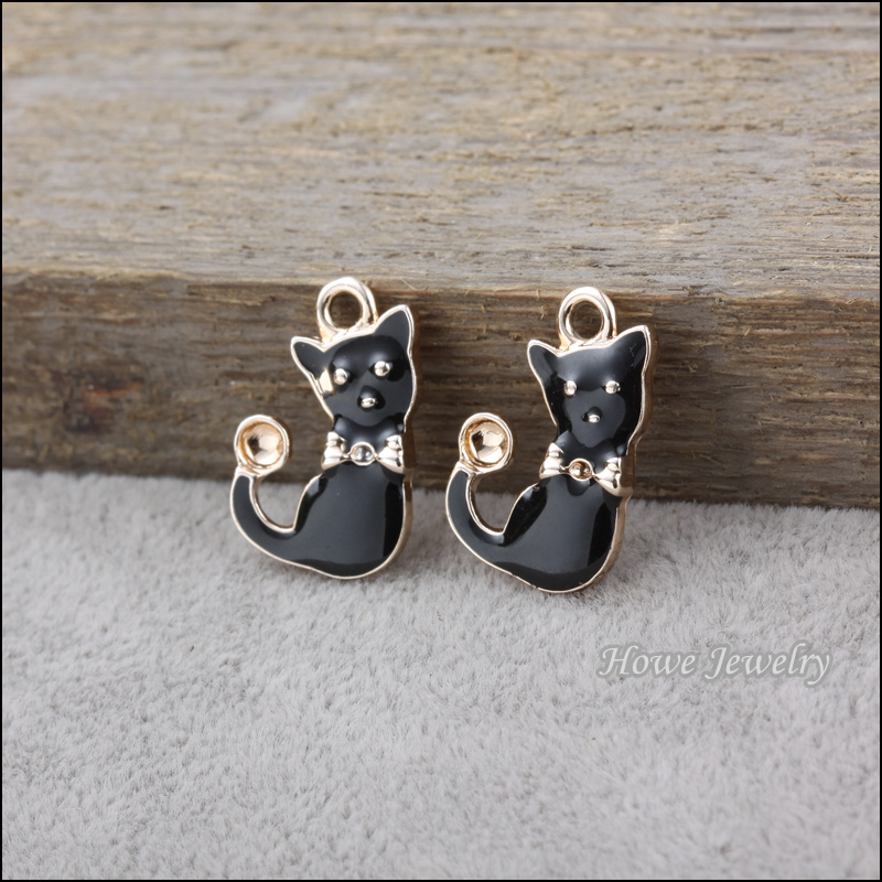 Wholesale 9 pcs uv gold plated enamel black cat pendant fit charm wholesale 9 pcs uv gold plated enamel black cat pendant fit charm fashion bracelet necklace diy jewelry accessories 80113 in jewelry findings components aloadofball Gallery