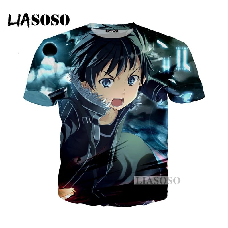 LIASOSO NEW Anime Sword Art Online Tees 3D Print T-shirt/Hoodie/Sweatshirt Unisex Cosplay Sexy katana kirito T Shirt Tops G333
